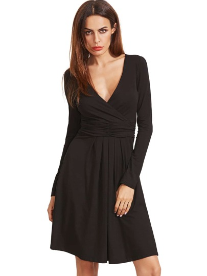 Black V Neck Long Sleeve Ruched Dress