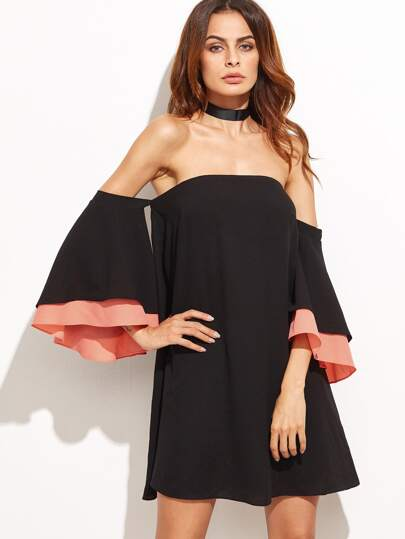 Black Layered Bell Sleeve Off The Shoulder Dress