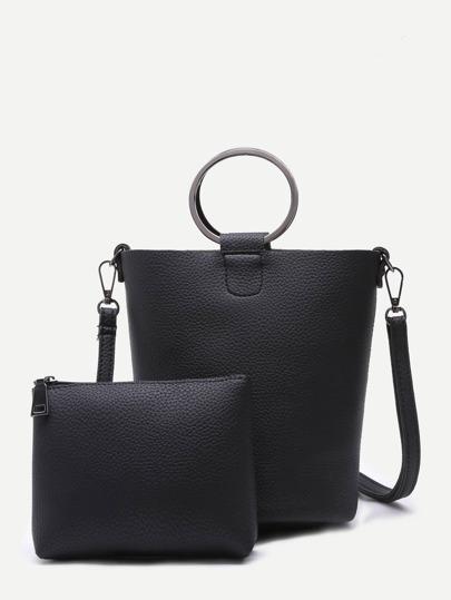 Black Pebbled PU Metal Ring Shoulder Bag With Clutch