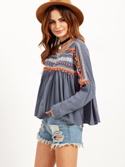 Grey Babydoll Blouse With Embroidered Tape Detail
