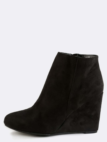 Faux Suede Wedge Ankle Boots BLACK