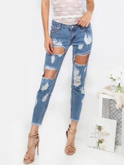 Destroyed Cropped Denim Pants