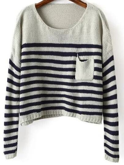 Navy Striped Drop Shoulder Sweater With Pocket