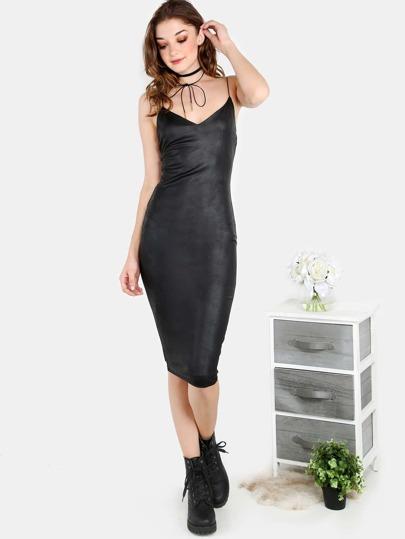 Faux Leather Slinky Strap Midi Dress BLACK