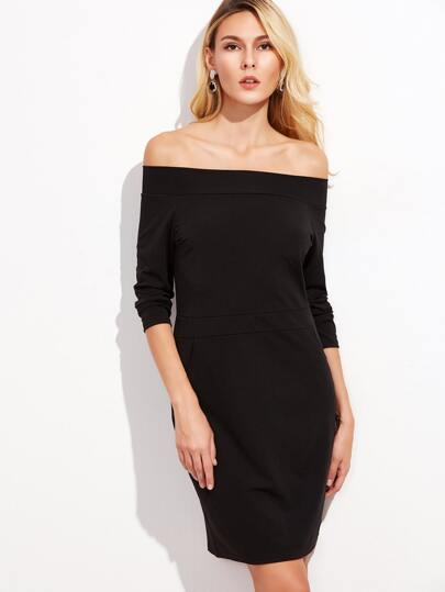 Black Off The Shoulder Sheath Dress