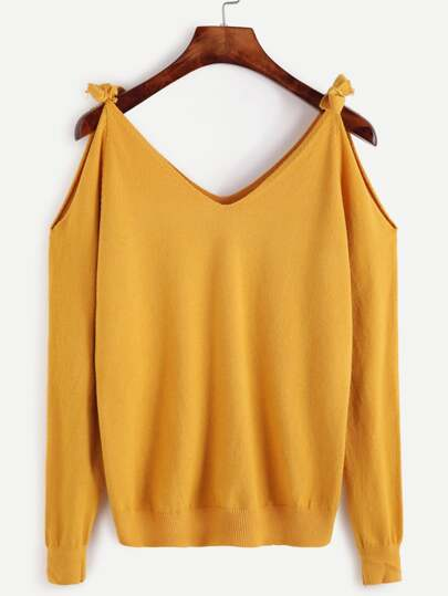 Yellow Open Shoulder Jersey Sweater