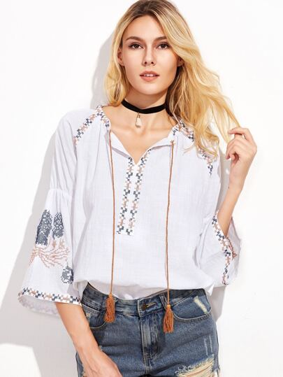 Tribal Embroidered Tassel Tie Neck Bell Sleeve Blouse