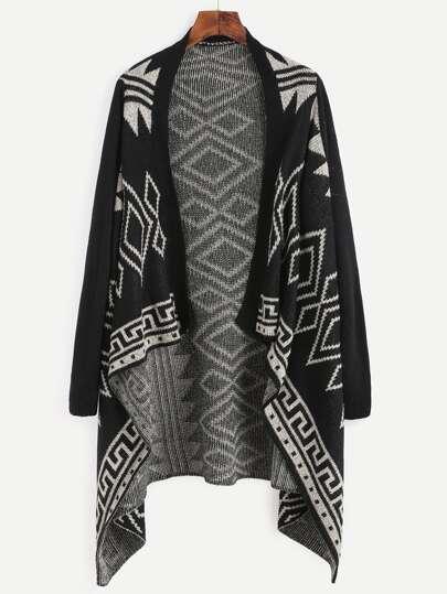 Geometric Print Asymmetrical Cardigan