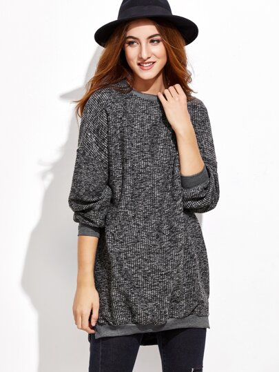 Dip Hem Split Grey Sweater