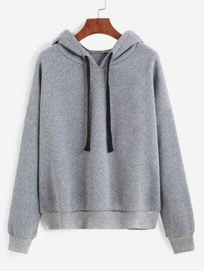 Sweat-shirt manche longue avec capuche - gris