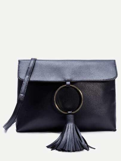Black Pebbled PU Tassel Trim Messenger Bag