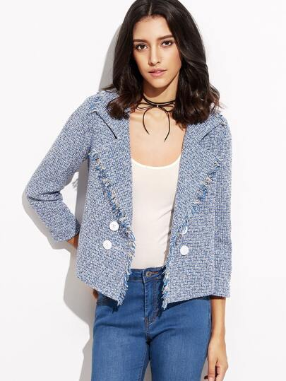 Blue Double Breasted Fringe Trim Tweed Blazer
