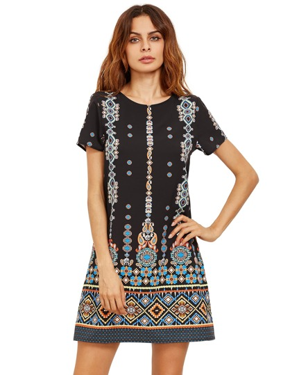 Orange In Black Aztec Print Shift Dress