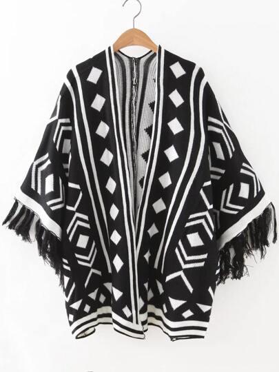 Black Geometric Pattern Fringe Cuff Cape Sweater