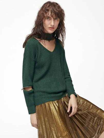 Dark Green Cutout Zipper Detail Sweater