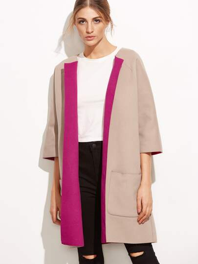 Pink Two Tone Three Quarter Sleeve Pocket Collarless Coat