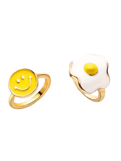 2PCS Gold Fried Egg Smiley Face Ring Set