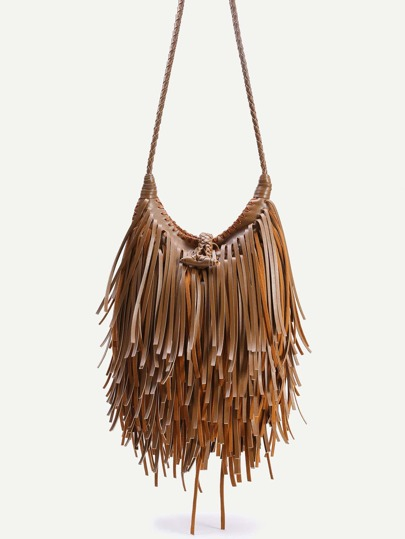 Coffee PU Tassel Fringe Crossbody Bag With Woven Strap