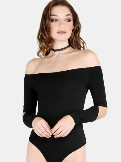 Off The Shoulder Cutout Elbow Bodysuit BLACK