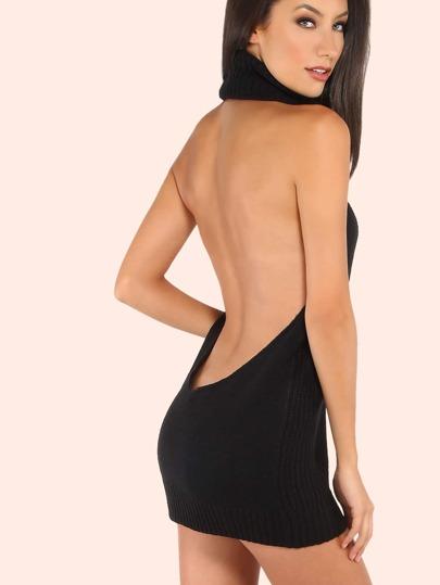 Backless Cowl Neck Mini Sweater Dress BLACK