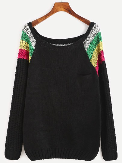 Color Block Scoop Neck Raglan Sleeve Sweater