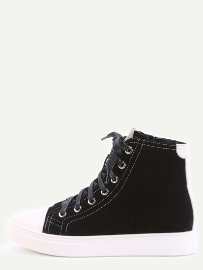 Zapatillas de cuero con cordones con suela gruesa - negro