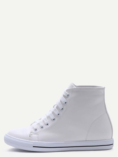 White Faux Leather Rubber Sole High Top Sneakers