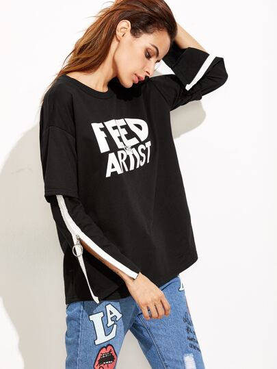 Letters Print Zip Sleeve 2 in 1 T-shirt