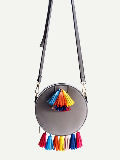 Grey PU Round Shape Tassel Trim Crossbody Bag