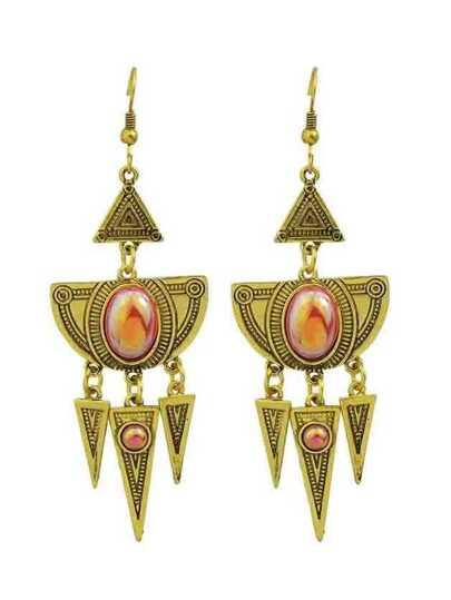Indian Design Rhinestone Triangle Shape Spike Big Chandelier Earrings