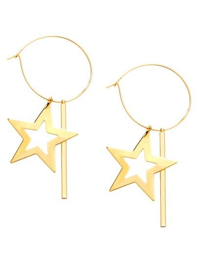 Gold Plated Star Geometric Hoop Earrings