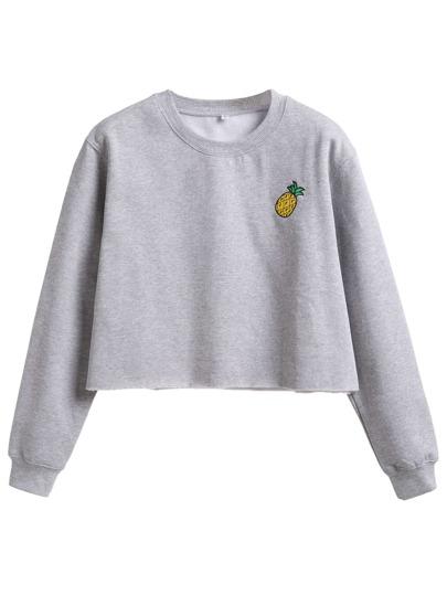 Grey Pineapple Embroidered Crop Sweatshirt