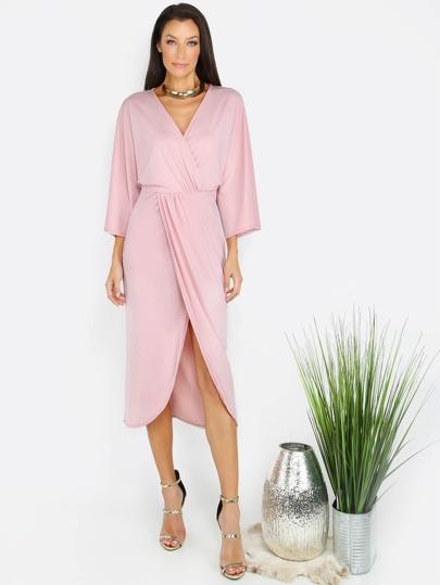 Pink Three Quarter Sleeve Sheath Surplice Dress