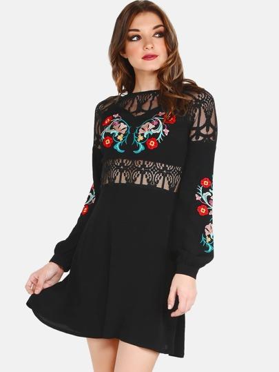 Lace Crochet Applique Floral Dress BLACK