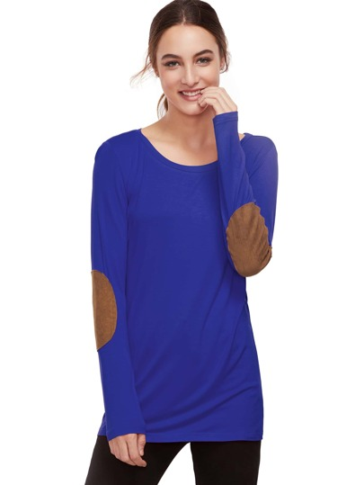 Royal Blue Long Sleeve Elbow Patch T-Shirt