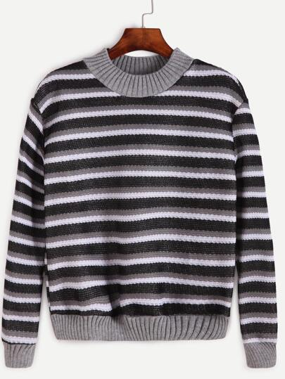 Contrast Trim Striped Sweatshirt