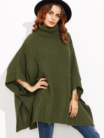 Olive Green Mixed Knit Turtleneck Cape Sweater