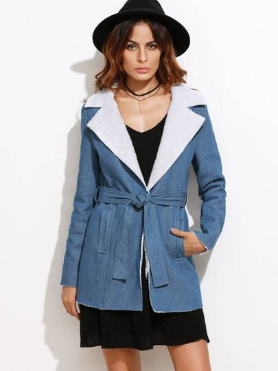 Blue Fleece Lined Belted Chambray Coat