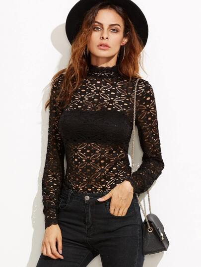 Black High Neck Hollow Out Floral Lace Blouse