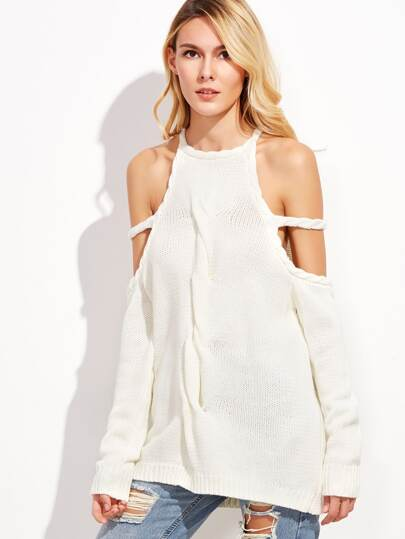 White Halter Cold Shoulder Twist Front Sweater