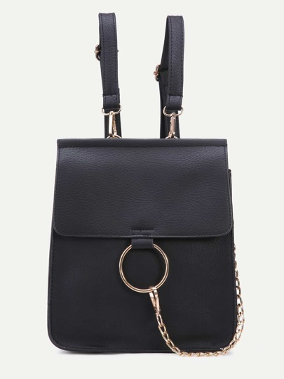 Black Faux Leather Circle Ring Flap Mini Backpack