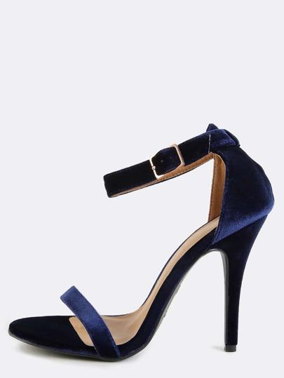 Open Toe Velvet Ankle Strap Heels NAVY