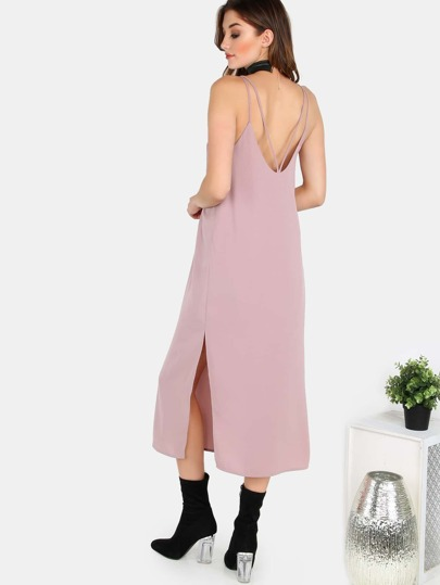Double Strap Cami Chiffon Midi Dress DUSTY PINK