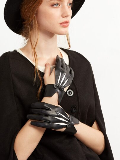 Black Faux Leather Cut Out Bow Gloves