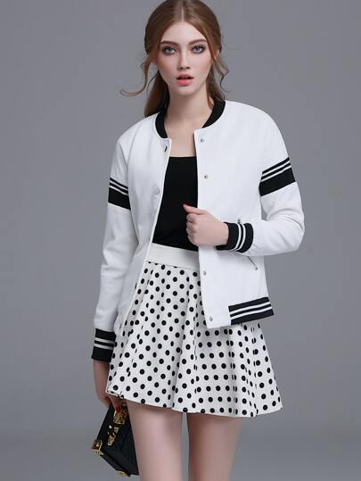 White Striped Hidden Button Front Jacket