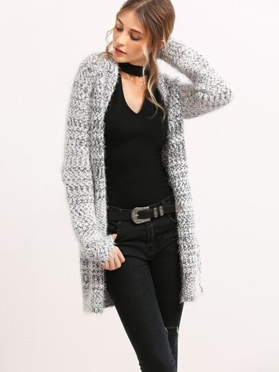 Black And White Marled Knit Fluffy Sweater Duffle Coat