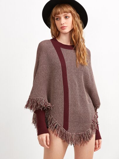 Burgundy Marled Knit Fringe Trim Cape Sweater