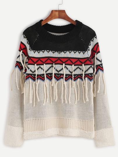 Color Block Geo Pattern Fringe Sweater