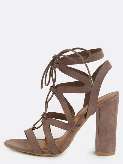 Open Toe Strappy Chunky Heels TAUPE