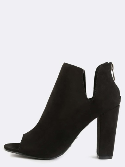 Side Cut Out Chunky Heel Booties BLACK
